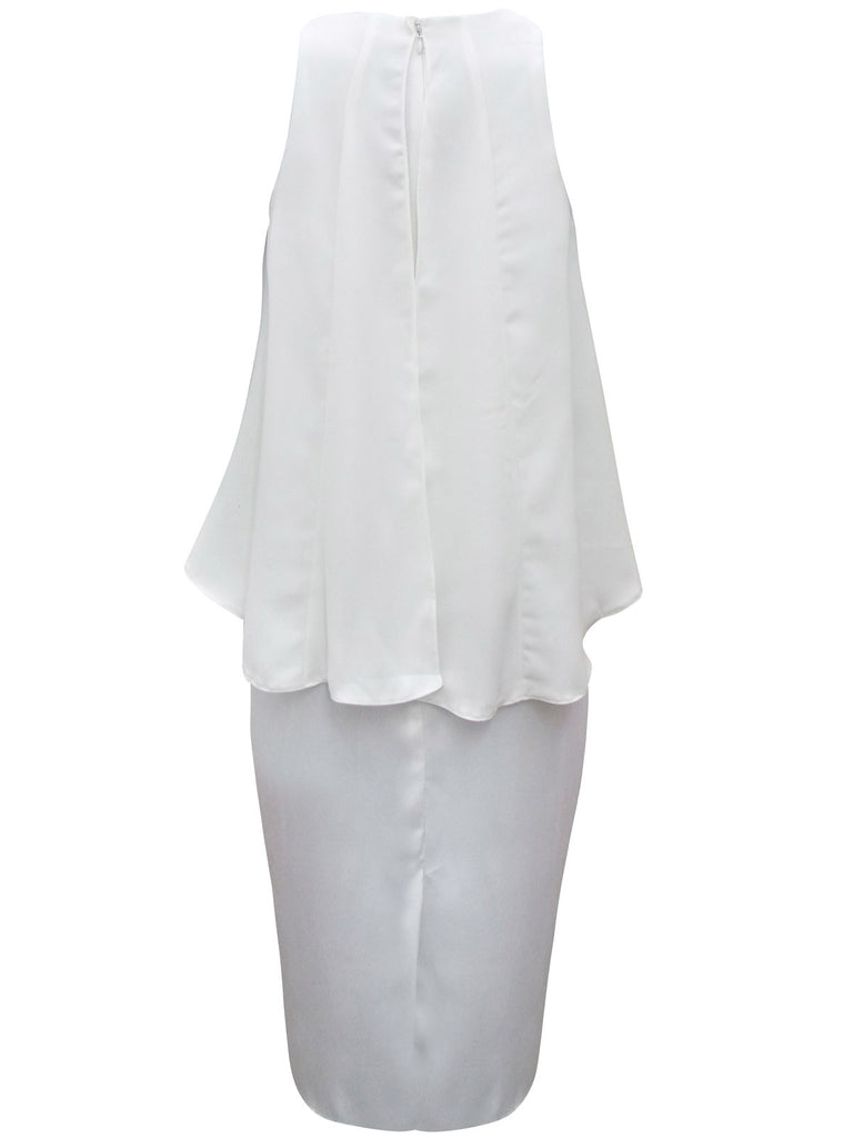 White Overlay Cocktail Dress With Consealed Rear Zip Fastening - Rear