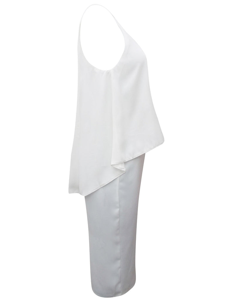 Women's Fashion White Overlay Cocktail Dress - Side