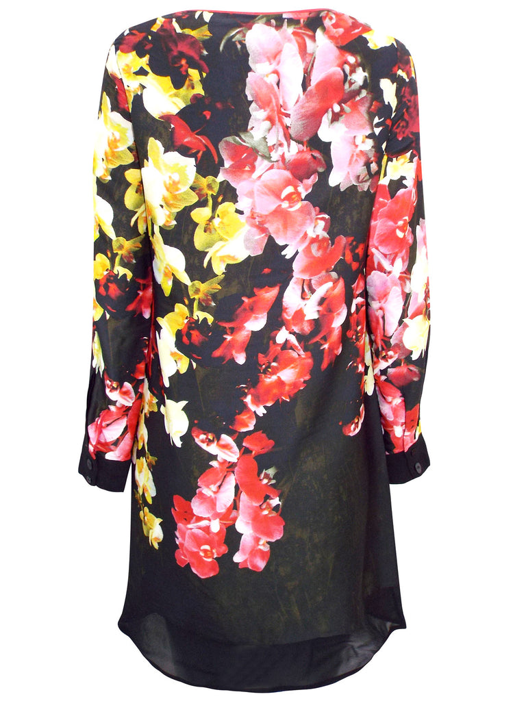 Long Sleeve Black Orchid Print Shift Dress With Loose Fitting Waist - Back