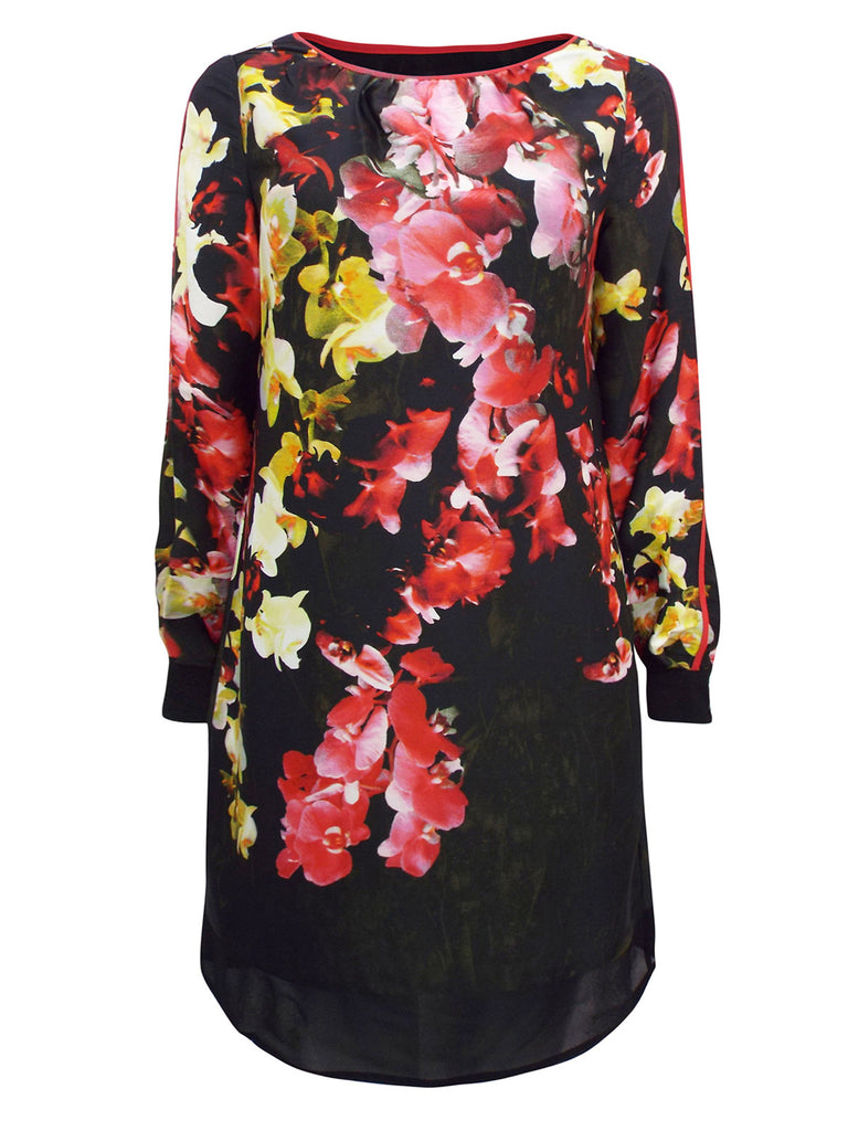 Women's Fashion Long Sleeve Black Orchid Print Shift Dress - Front