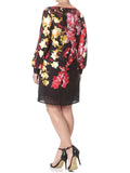 Ladies Fashion Long Sleeve Black Orchid Print Shift Dress - Modeled Back
