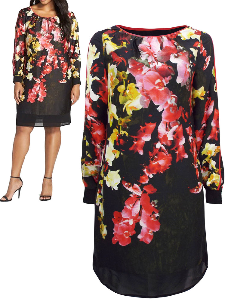 Women's Fashion Long Sleeve Black Orchid Print Shift Dress - Modeled Front and Front