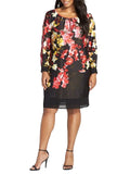 Ladies Fashion Long Sleeve Black Orchid Print Shift Dress - Modeled Front