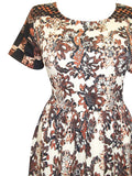 Women's Day Dress With Warm Autumnal Floral Print - Front Close Up