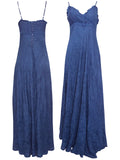 Ladies Fashion Crinkle Maxi Evening Dress in Luscious Deep Navy Blue Front and Rear