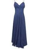 Ladies Fashion Crinkle Maxi Evening Dress in Luscious Deep Navy Blue Front