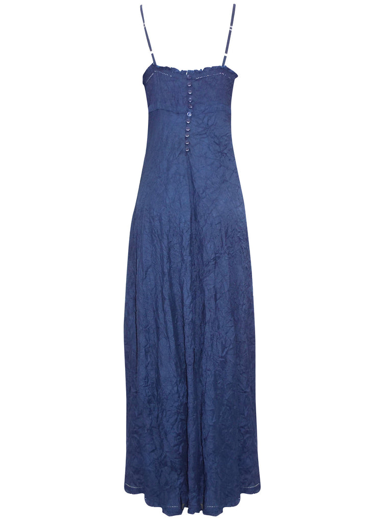Ladies Fashion Crinkle Maxi Evening Dress in Luscious Deep Navy Blue Rear