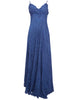 Ladies Fashion Crinkle Maxi Evening Dress in Luscious Deep Navy Blue