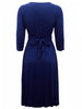 Ladies Fashion Navy Blue 3/4 Length Sleeve Jersey Wrap Dress (Back)