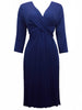 Women's Fashion Navy Blue Long Sleeve Midi Length Jersey Wrap Dress (Front)