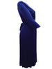 Ladies Fashion Navy Blue 3/4 Length Sleeve Jersey Wrap Dress With V-Neck Crossover Detail to Front (Side)