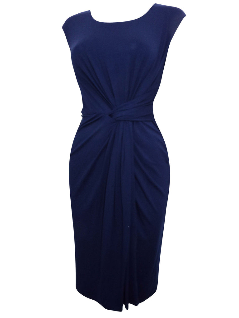 Ladies Fashion Navy Blue Sleeveless Athena Dress With Capped Sleeves (Angle)