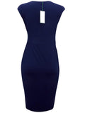 Women's Fashion High Stretch Navy Blue Sleeveless Athena Dress (Back)