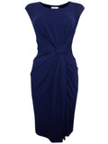 Women's Fashion Navy Blue Sleeveless Athena Dress (Front)