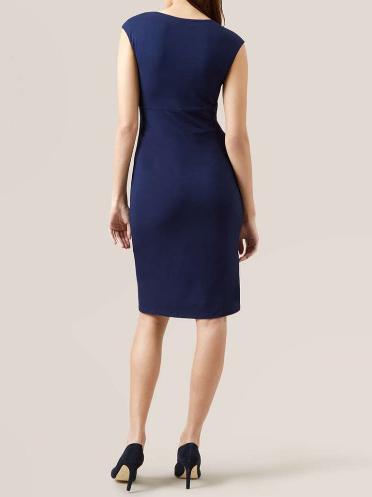 Ladies Fashion Navy Blue Sleeveless Athena Dress With Capped Sleeves (Modeled Back)