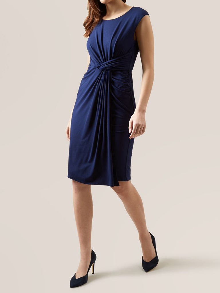 Women's Fashion Navy Blue Sleeveless Athena Dress (Modeled Front)