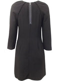 Womens Fashion LBD With Exposed Zip & 3/4 Length Sleeves - Rear