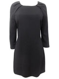 Women's Fashion Shift Dress in Black With Scoop Neckline & 3/4 Length Sleeves - Front