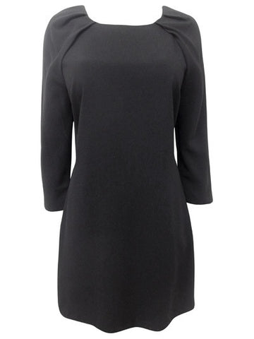 Black Asymmetric Three Quarter Sleeve V-Back Dress