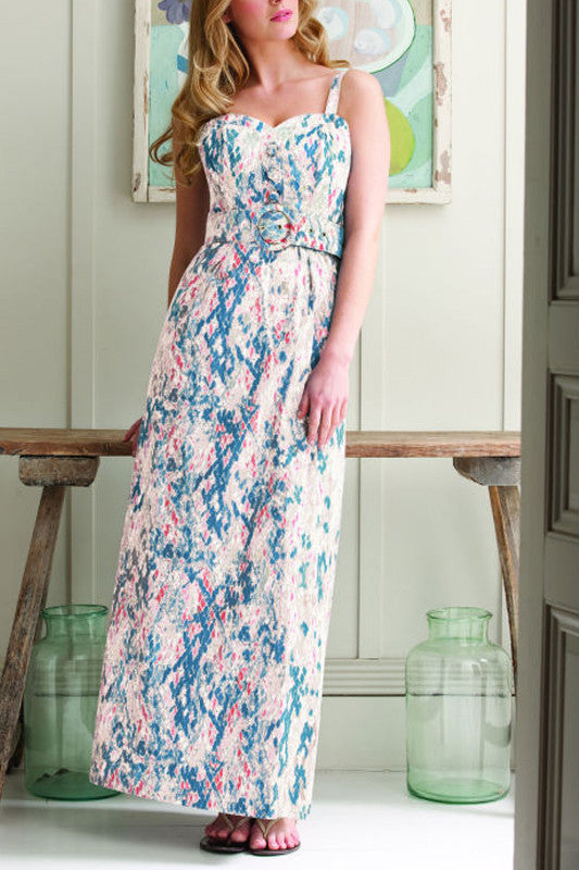 Women's Fashion Maxi Dress by Pepperberry in a subtle denim & rust coloured snake print - front