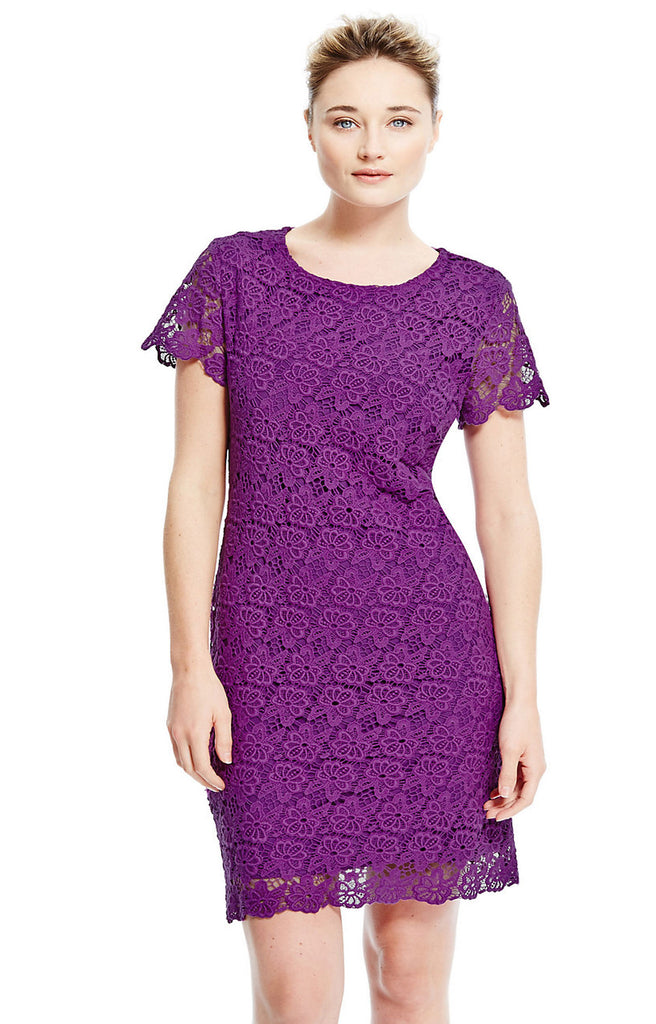 Women's Fashion Dress, Purple Cotton Lace With Short Scalloped Sleeves & Hem - Front