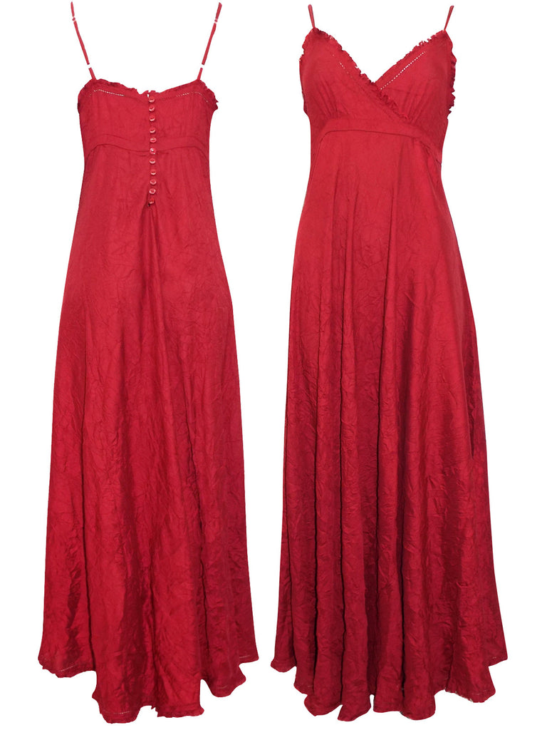 Crinkle Maxi Evening Dress in Vibrant Red