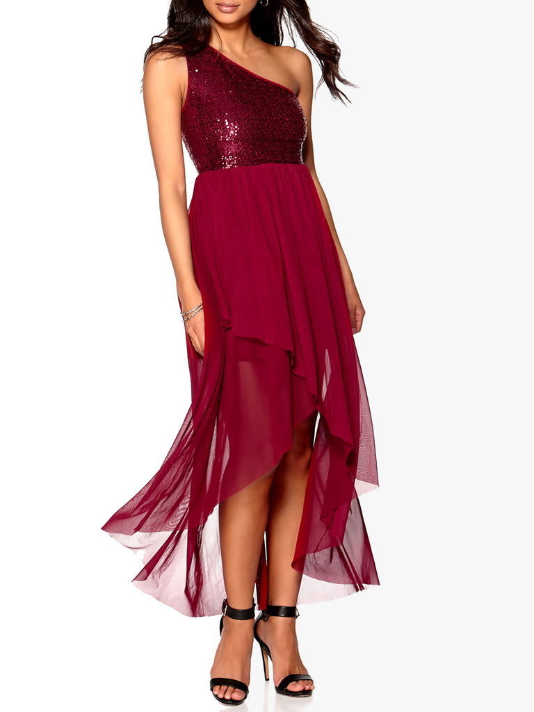 Ladies Fashion One Shoulder Short Long Sequin Bodice Wine Party Evening Dress