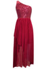 Ladies Fashion One Shoulder Short Long Sequin Bodice Wine Party Evening Dress Close Up
