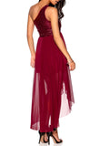 Ladies Fashion One Shoulder Short Long Sequin Bodice Wine Party Evening Dress Rear