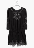 Women's cotton blend playsuit with 3/4 length sleeves in black - front