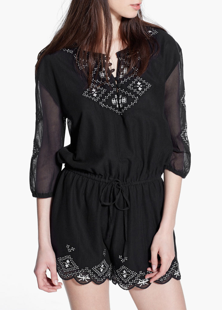 Women's cotton blend playsuit features a scoop neckline and 3/4 length sleeves - front