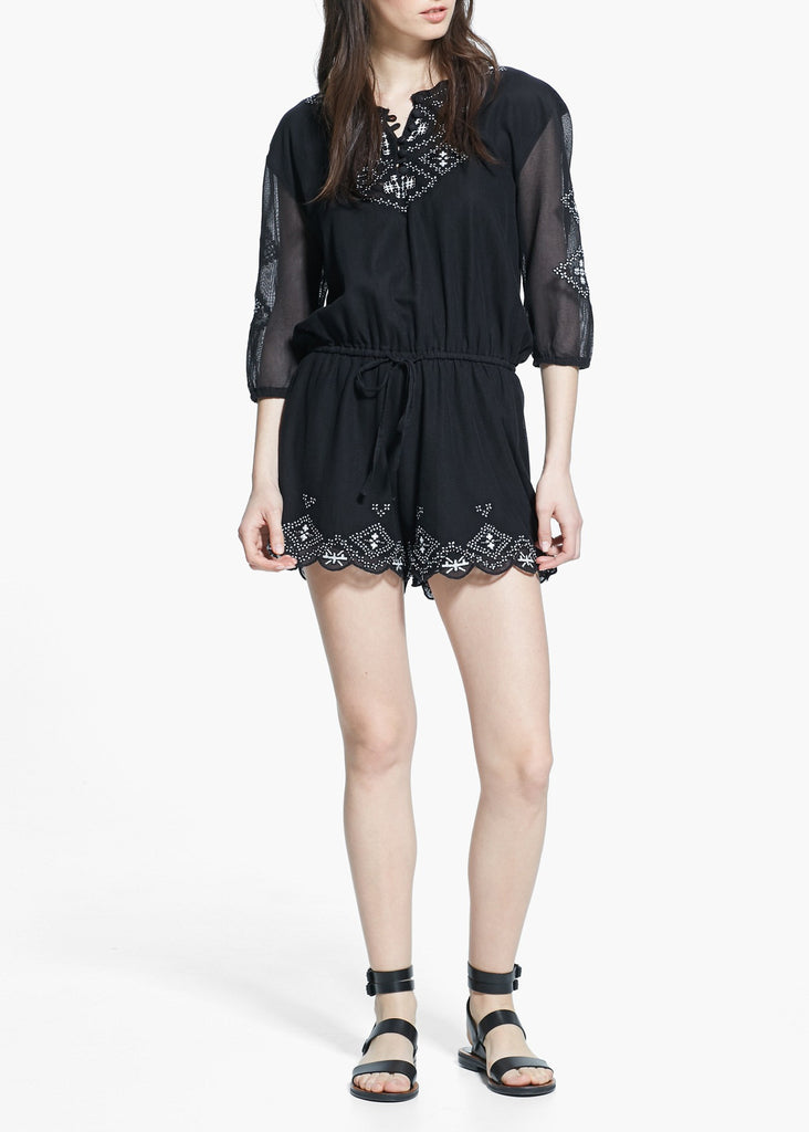 Women's fashion playsuit in black with embroidery detail - front