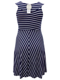 Women's Fashion Sleeveless Blue And White Striped Jersey Dress With Floaty Hem -Rear