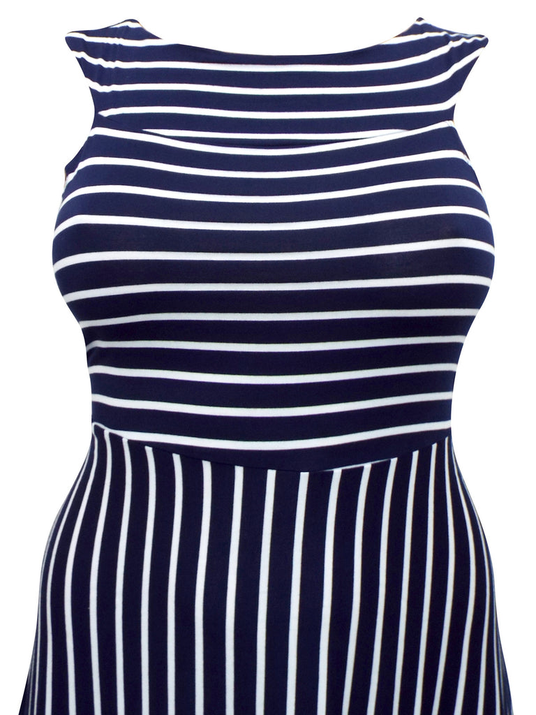 Ladies Fashion Sleeveless Blue And White Striped Jersey Dress (FrontClose)