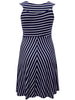 Women's Fashion Sleeveless Blue And White Striped Jersey Dress (Front)