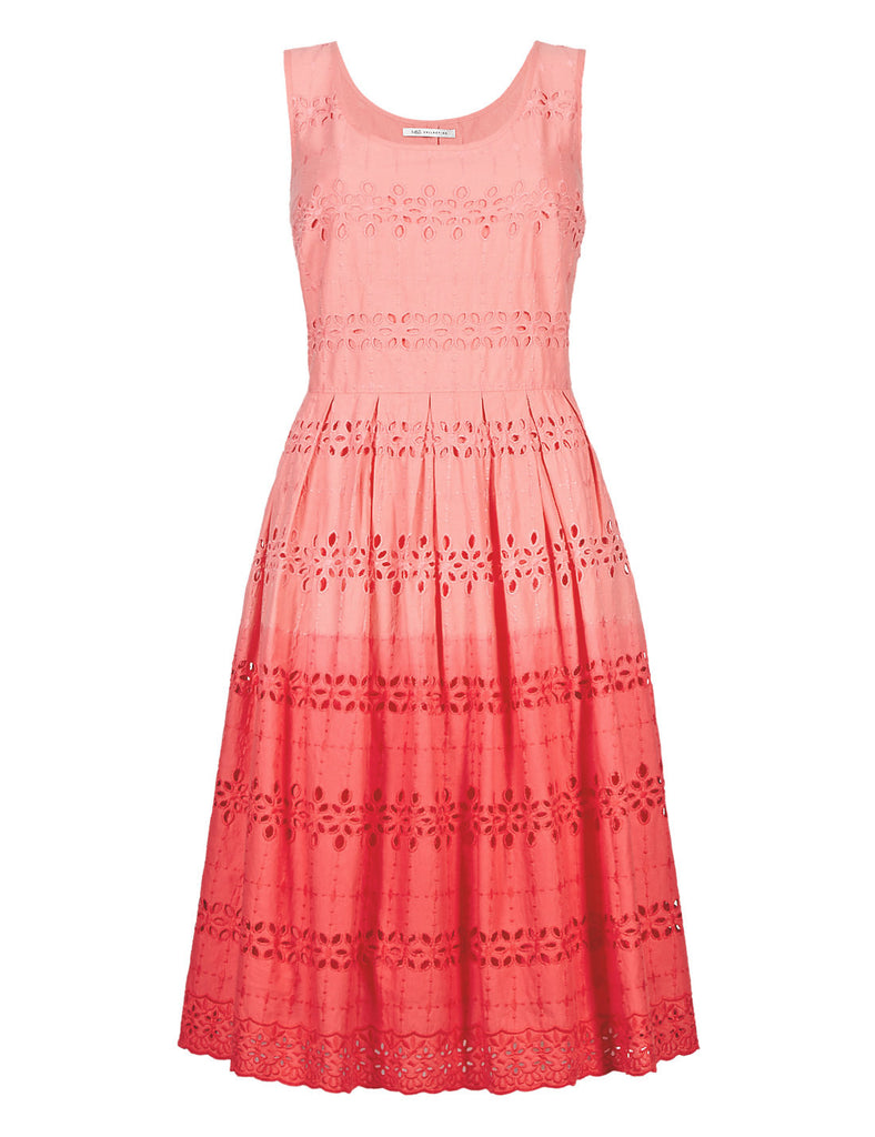 Women's Fashion Broderie Anglaise Ombre Summer Sleeveless Dress in Orange - Front