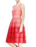 Women's Fashion Broderie Anglaise Ombre Sleeveless Summer Dress - Front