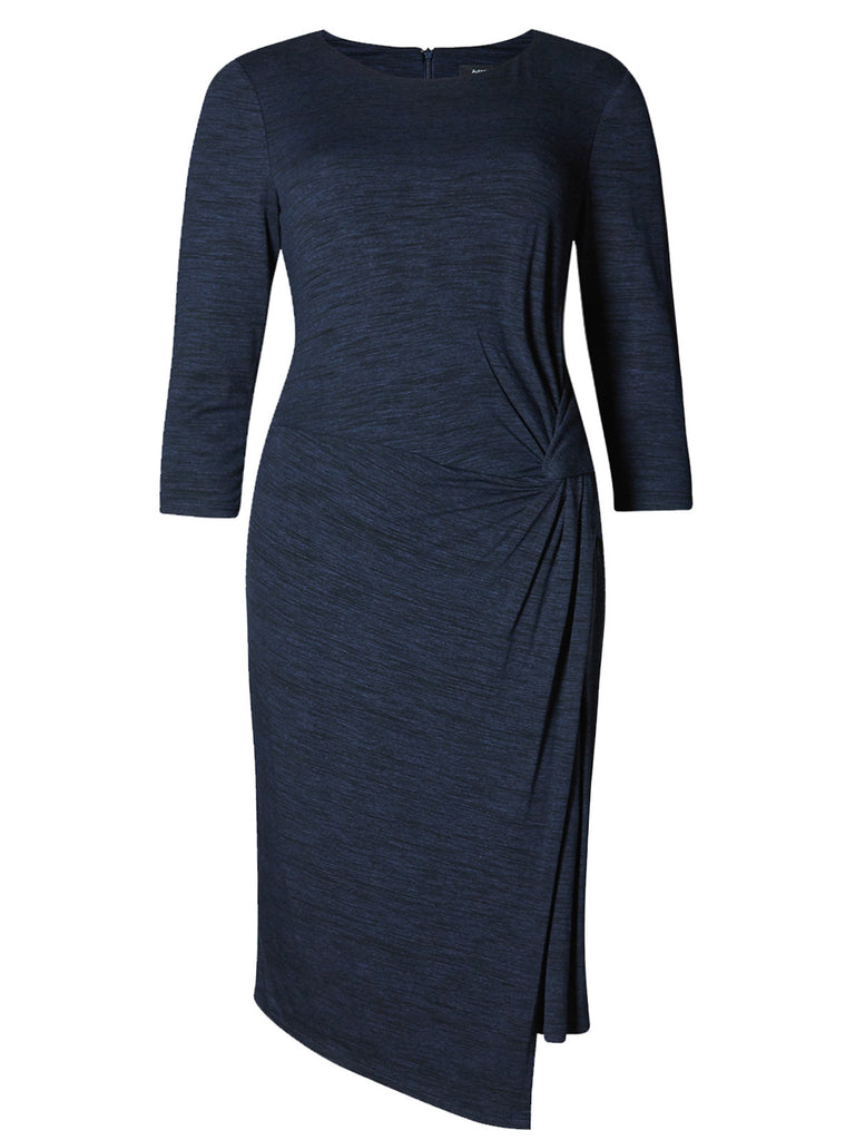 Flattering body-con style shift dress with side knot detail in navy blue.