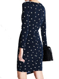 Women's Fashion Shift Dress, Ruched Style With Diamond Print On Navy. - Rear