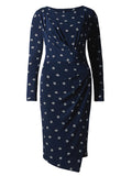 Women's Fashion Shift Dress in navy blue with a diamond print detail & ruched style