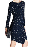 Ladies Fashion Day Dress In Navy With Diamond Print Detail, Long Sleeves & Asymmetric Hem - Front