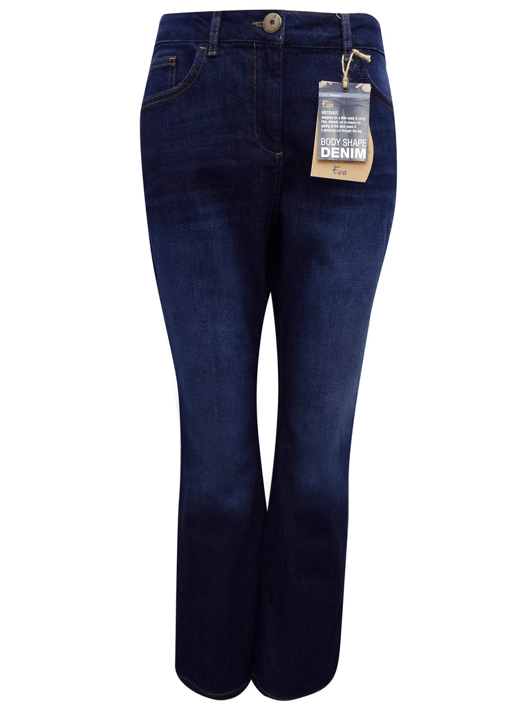 Ladies Fasion Bodyshape Dark Denim Jeans With Slim Leg - Front