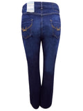 Ladies Bodyshape Jeans In Dark Denim With Slim Bootleg Style - Rear