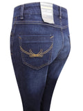 Women's Fashion Slim Bootleg Dark Denim Jeans - Side/Rear