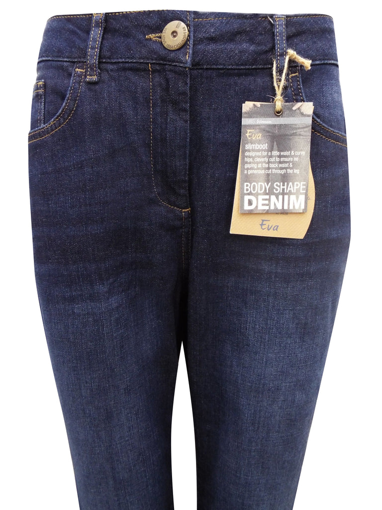 Women's Fashion Jeans in Dark Denim with a Slim Bootleg - Front Close Up