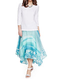 Women's Fashion Skirt in Turquoise, Calf Length - Front