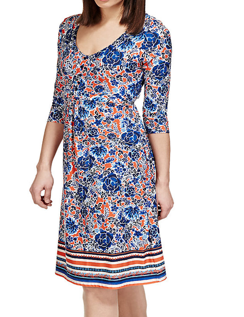 Ladies Fashion Day Dress - Flattering Fit & Flare Style in Blues & Orange Floral Pattern.  Knee Length Long Sleeves - Front