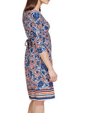 Women's Fashion Day Dress in Blues & Orange.  Rear Tie Feature - Side
