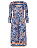 Women's Fashion Day Dress - Attractive floral fitted & flare design in blues & orange. Plus sizes available - Front