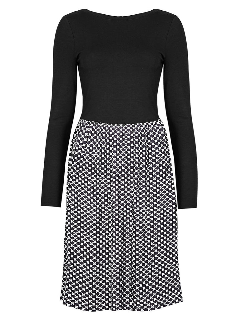 Women's Fashion Monochrome Skirt Dress With Black Jersey Top & Long Sleeves - Front